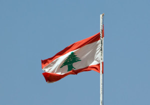 Lebanese flag floating